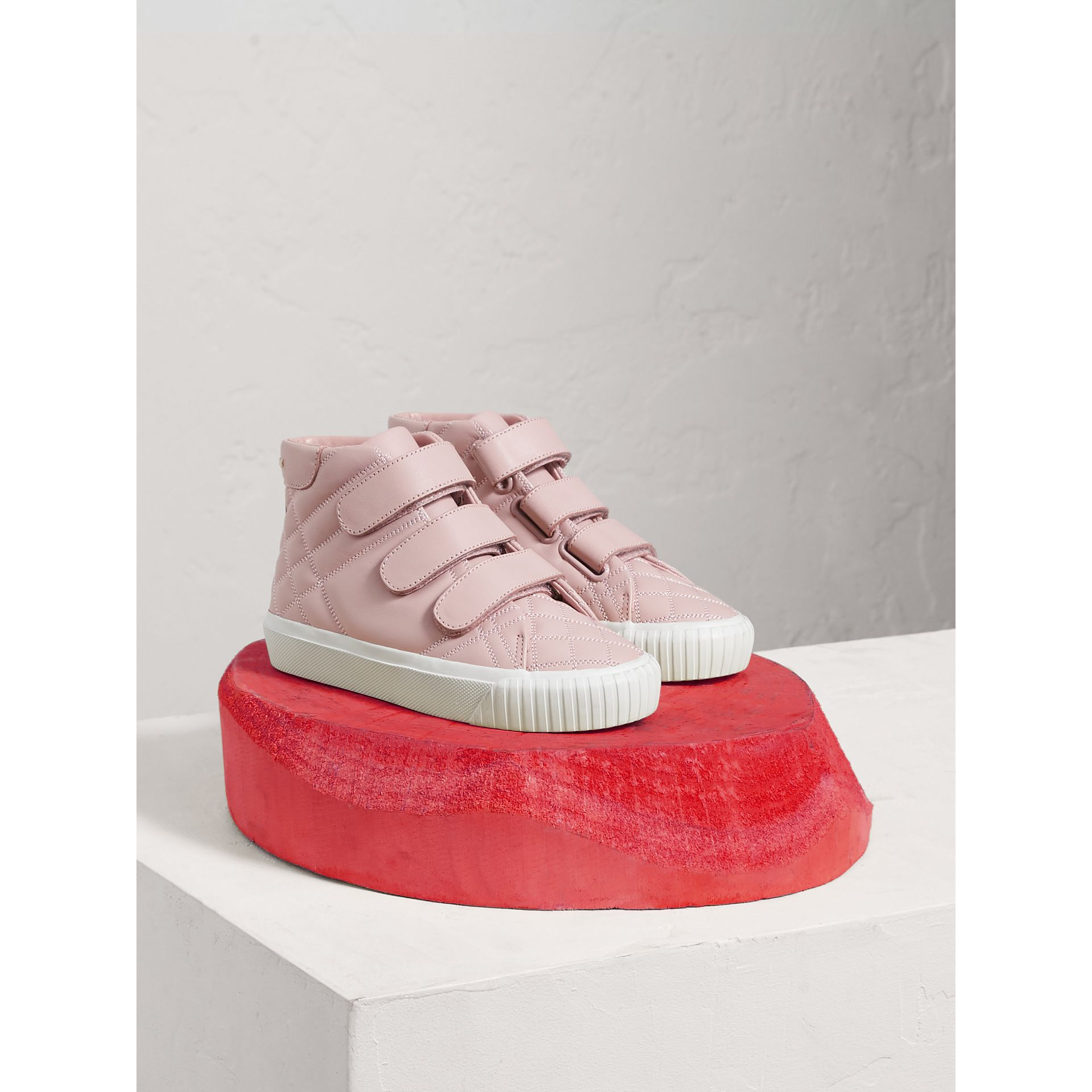 Check-quilted Leather High-top Sneakers in Light Pink Melange - Girl | Burberry - gallery image 0