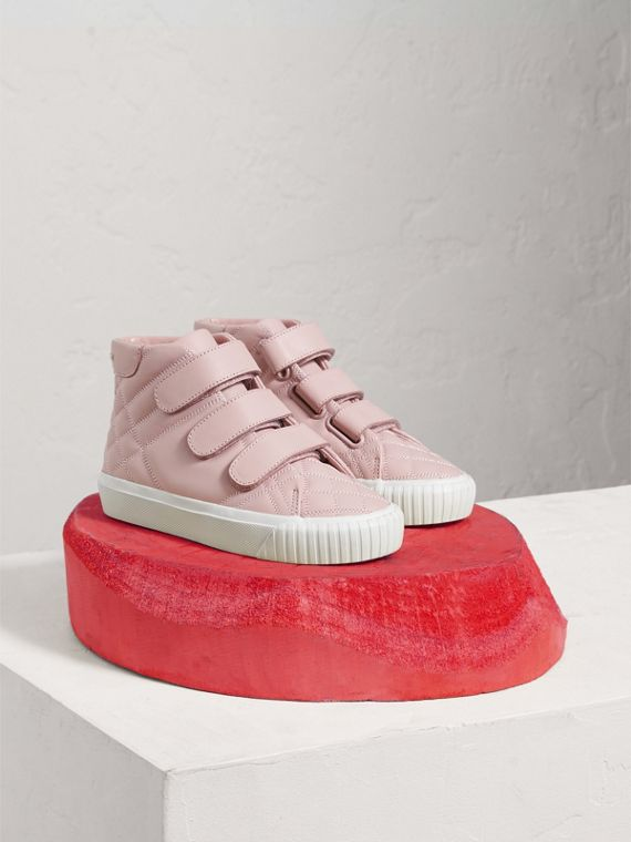 Check-quilted Leather High-top Sneakers in Light Pink Melange