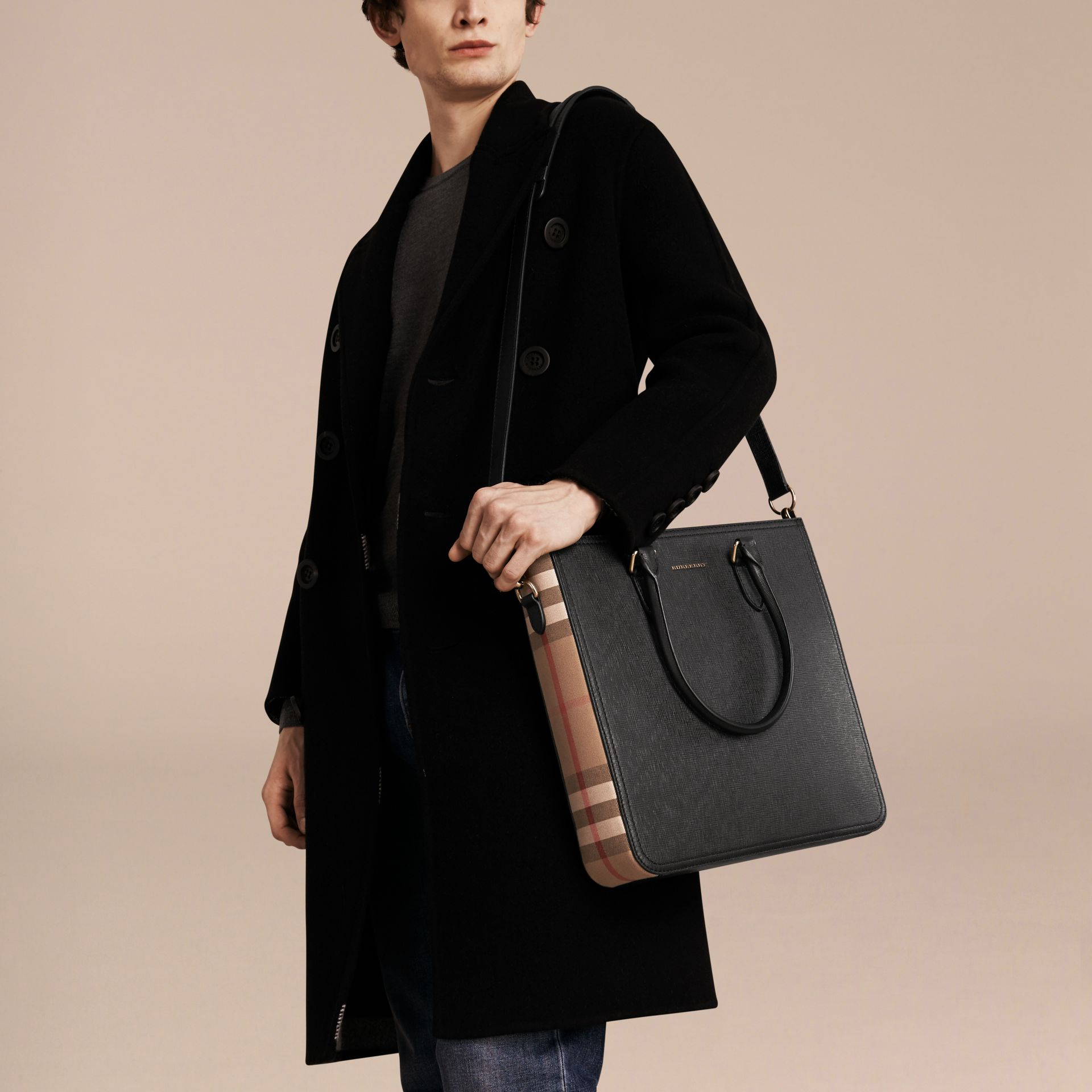 Black London Leather and House Check Tote Bag - gallery image 3