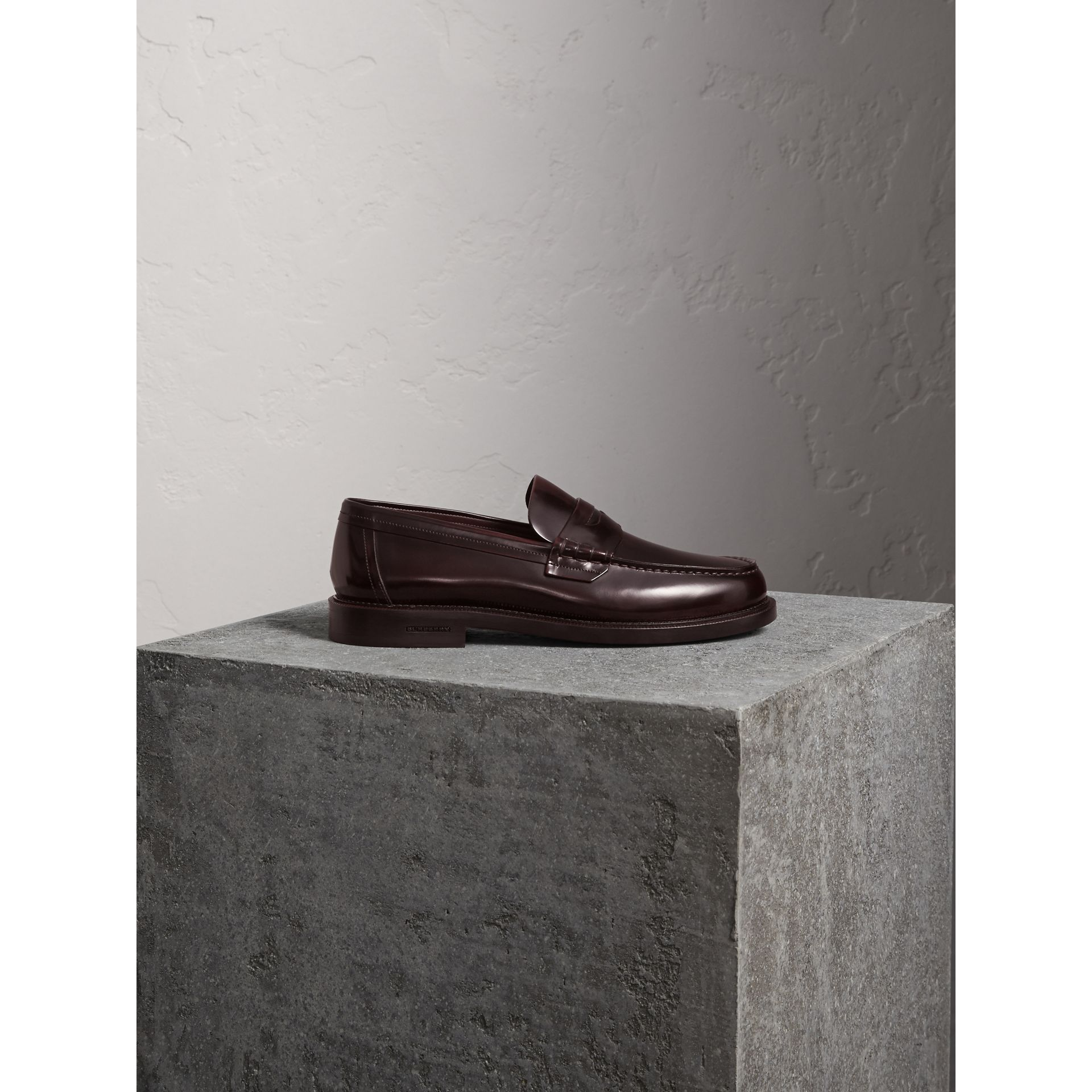 Leather Penny Loafers in Rust Red - Men | Burberry - gallery image 1