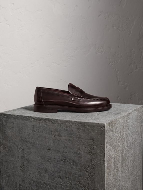Leather Penny Loafers in Rust Red