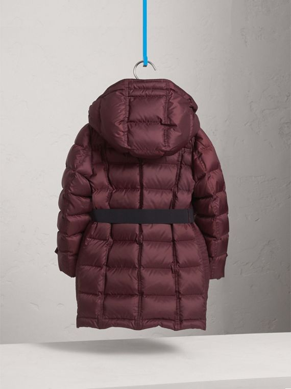 Detachable Hood Down-filled Coat in Dark Plum - Girl | Burberry - cell image 3