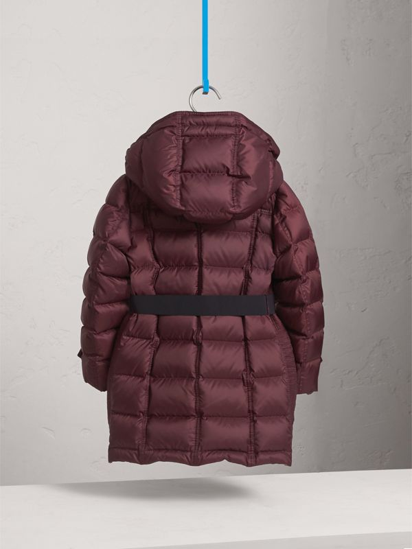 Detachable Hood Down-filled Coat in Dark Plum | Burberry - cell image 3