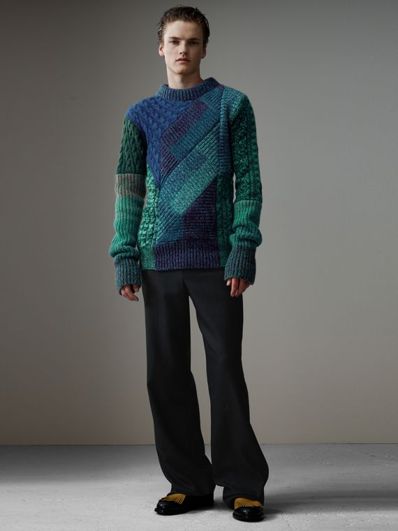 Cashmere Wool Mouliné Patchwork Sweater in Hydrangea Blue