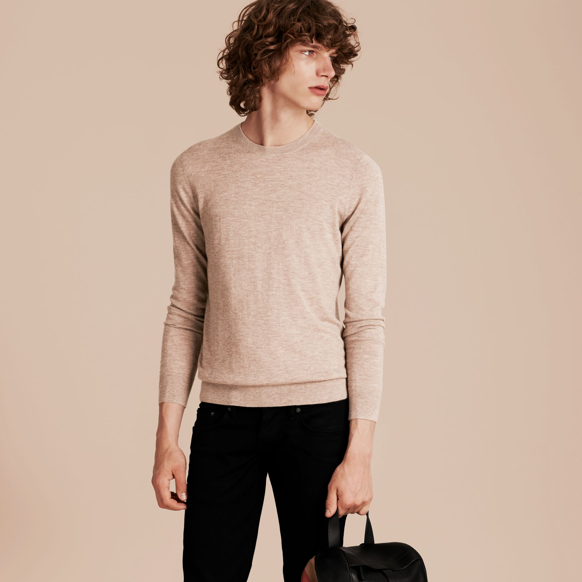 Camel melange Lightweight Crew Neck Cashmere Sweater with Check Trim Camel Melange - gallery image 6