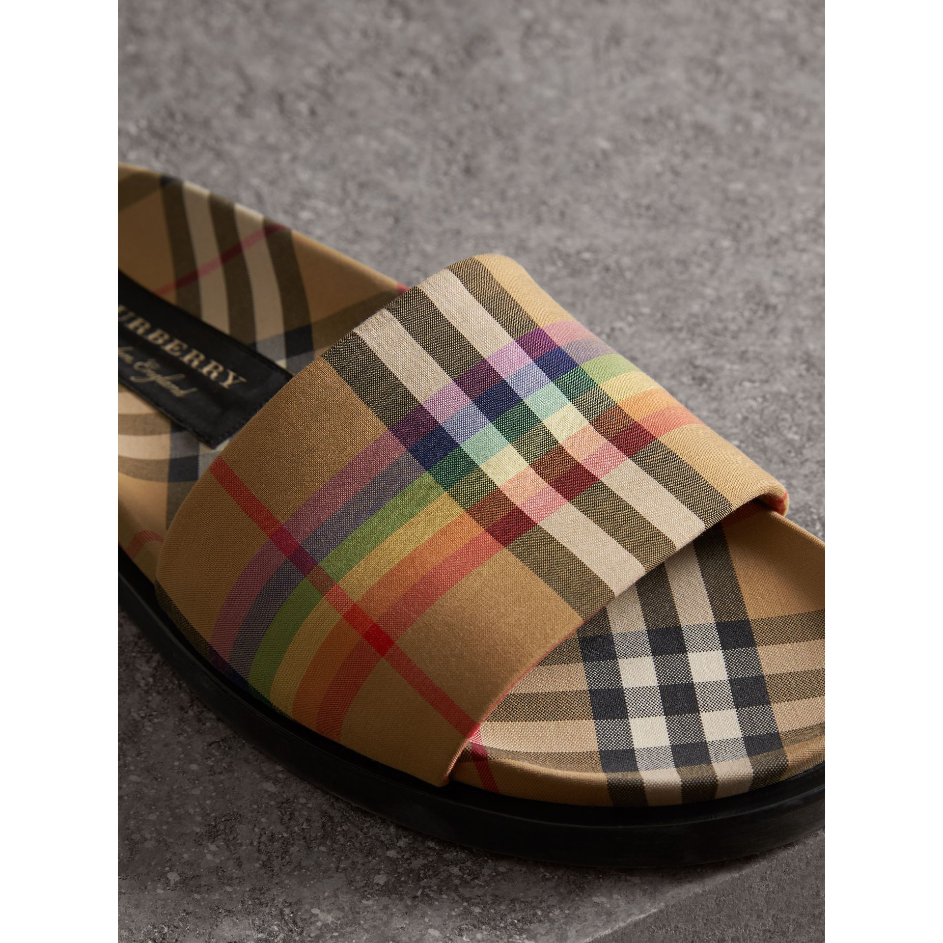 Rainbow Vintage Check Slides in Antique Yellow - Men | Burberry United Kingdom - gallery image 1