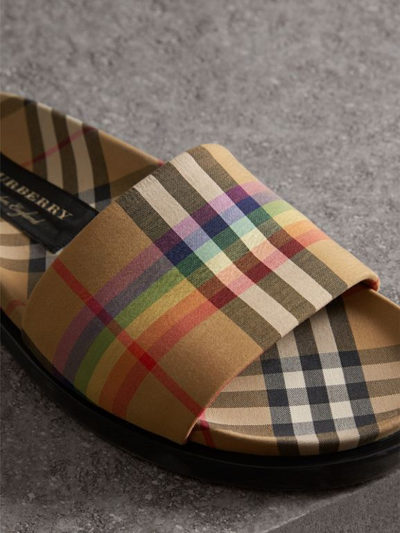 Rainbow Vintage Check Slides in Antique Yellow - Men | Burberry Australia - cell image 1