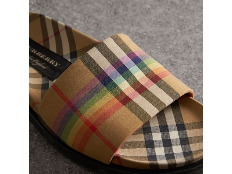 Rainbow Vintage Check Slides in Antique Yellow - Men | Burberry United Kingdom - cell image 1