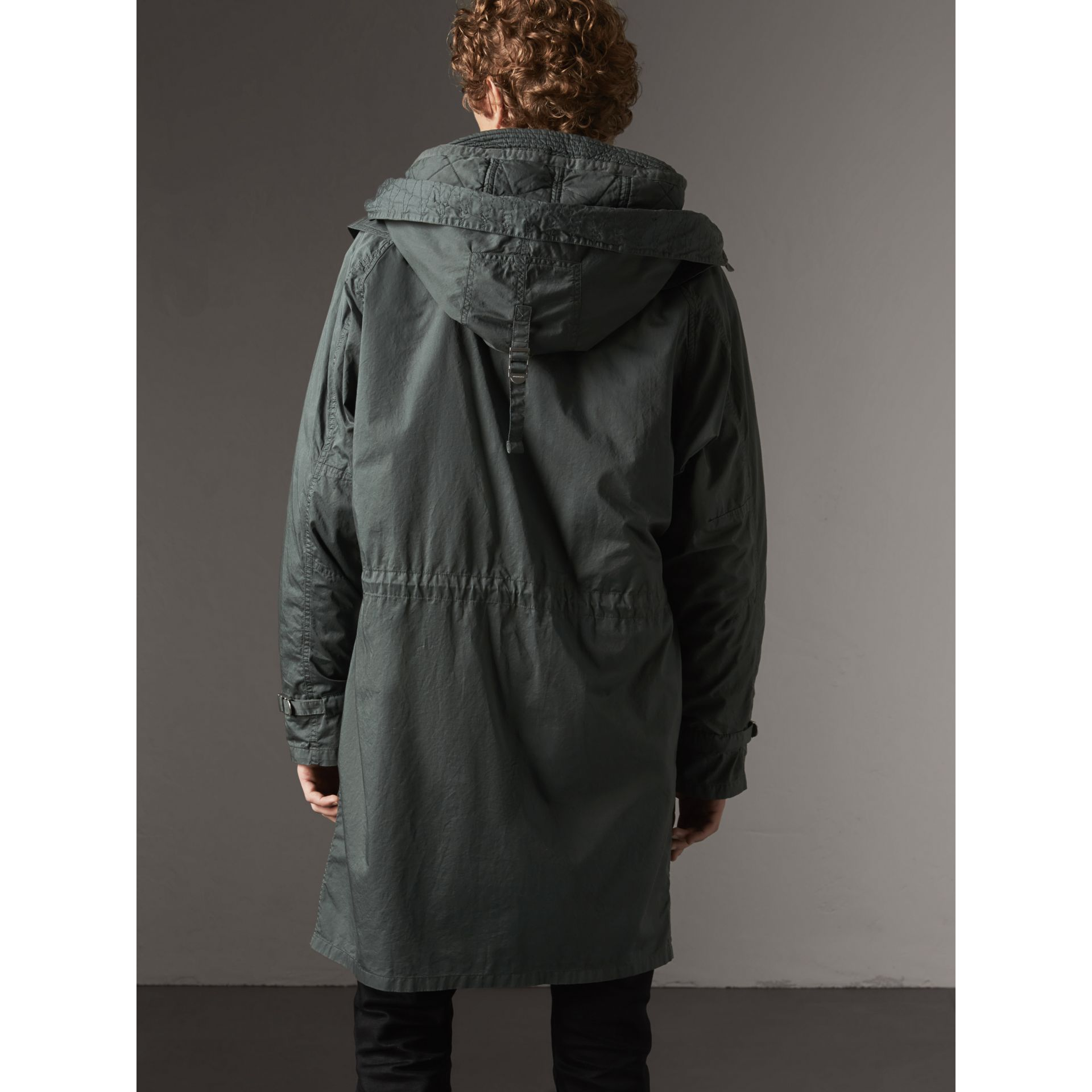 Detachable Hood Cotton Parka with Warmer in Smokey Green - Men | Burberry United Kingdom - gallery image 3