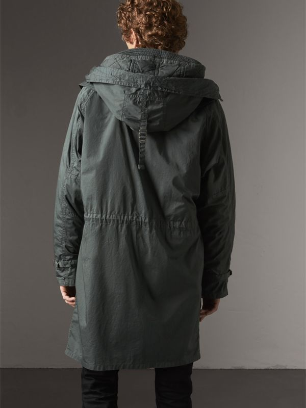 Detachable Hood Cotton Parka with Warmer in Smokey Green - Men | Burberry - cell image 2