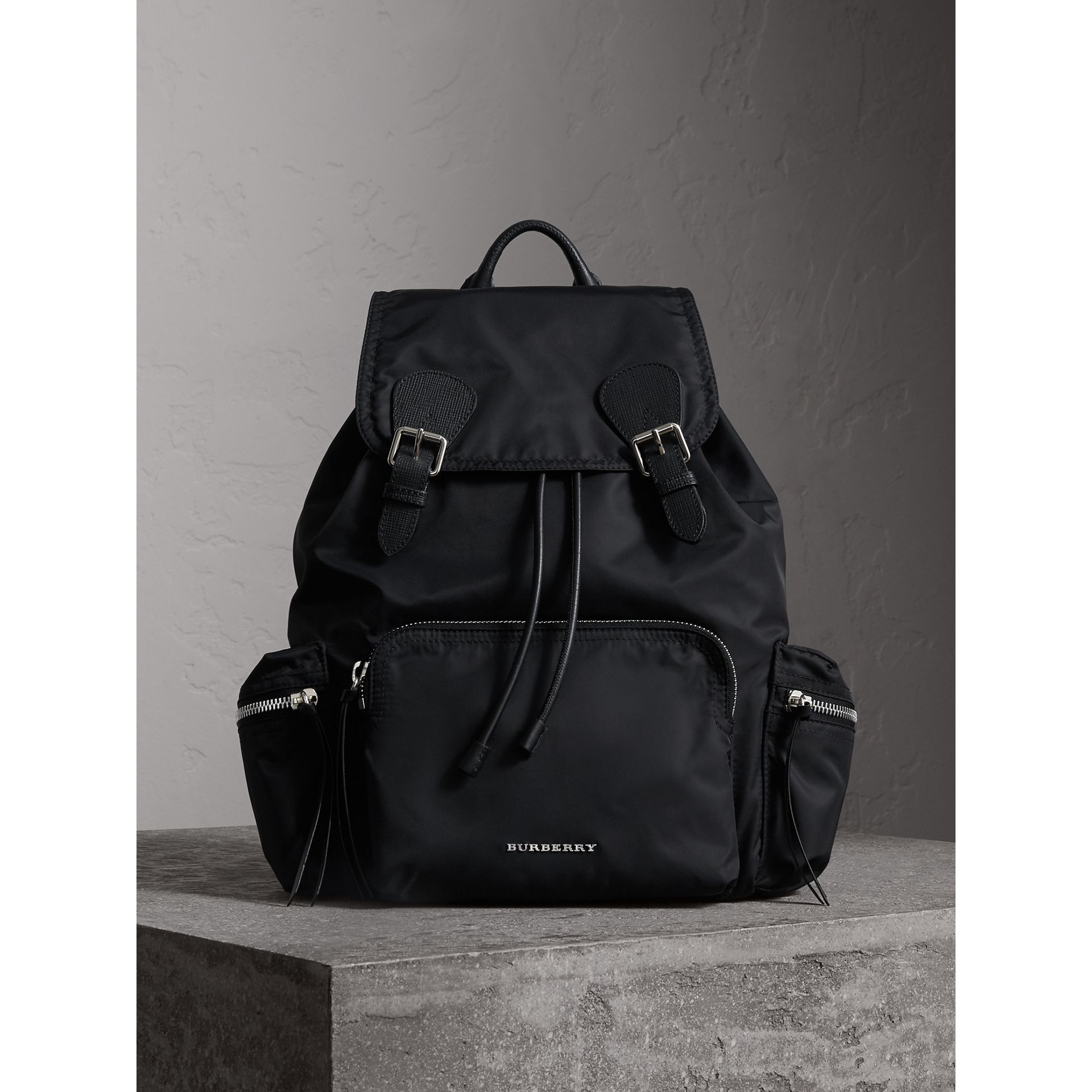 The Large Rucksack in Technical Nylon and Leather in Black/black - Women | Burberry - gallery image 7