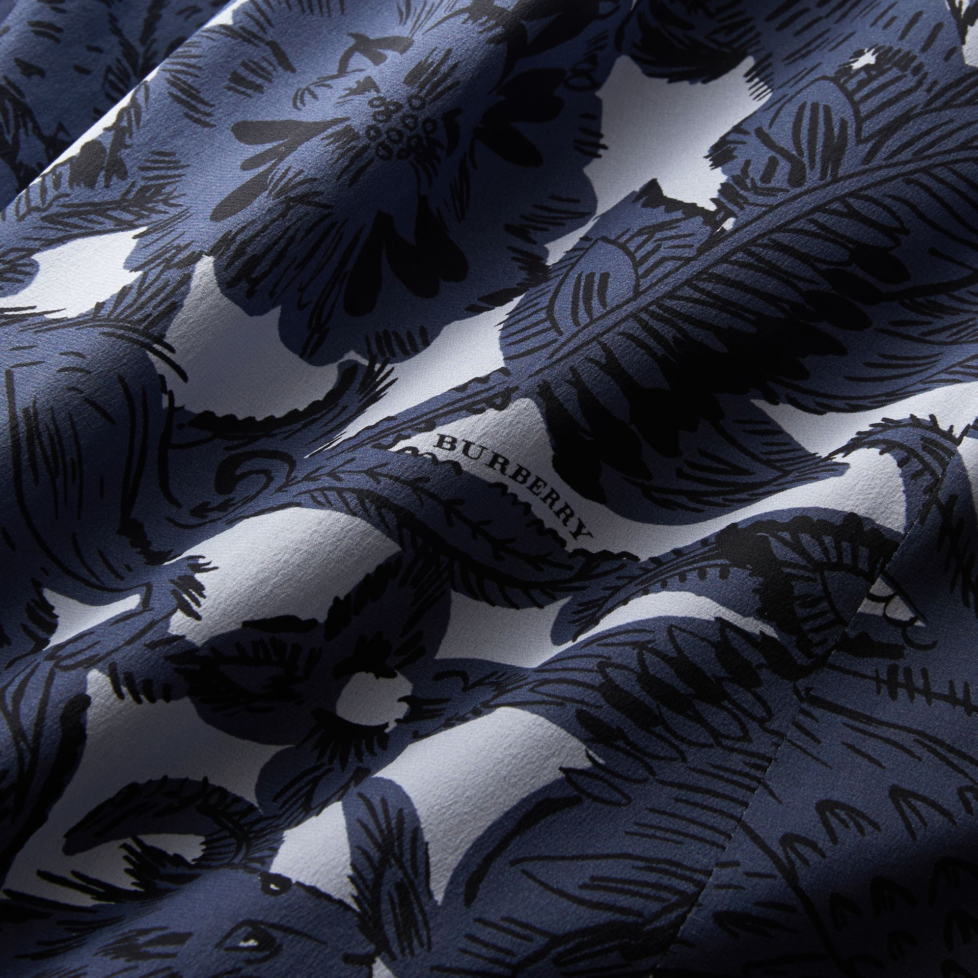 Beasts Print Silk Skirt in Stone Blue - Women | Burberry - gallery image 1