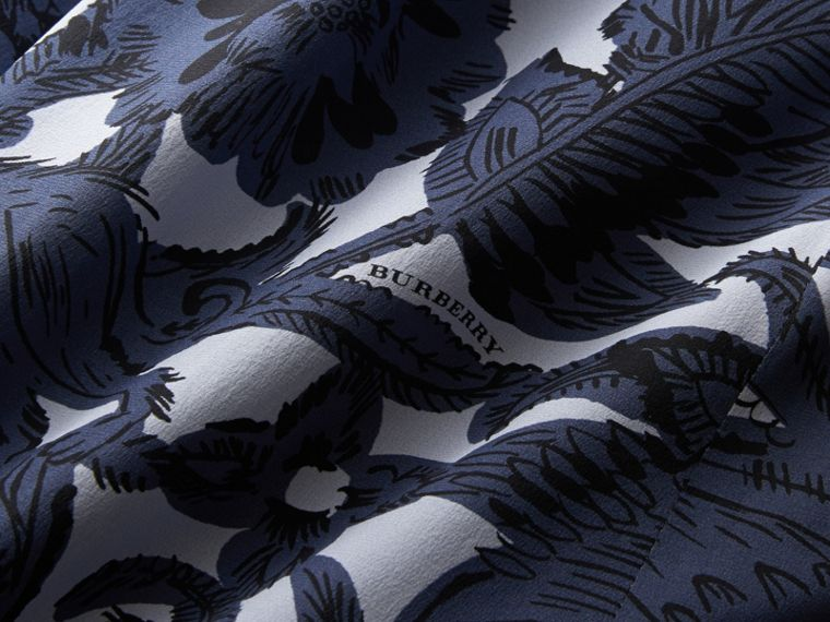 Beasts Print Silk Skirt in Stone Blue - Women | Burberry - cell image 1