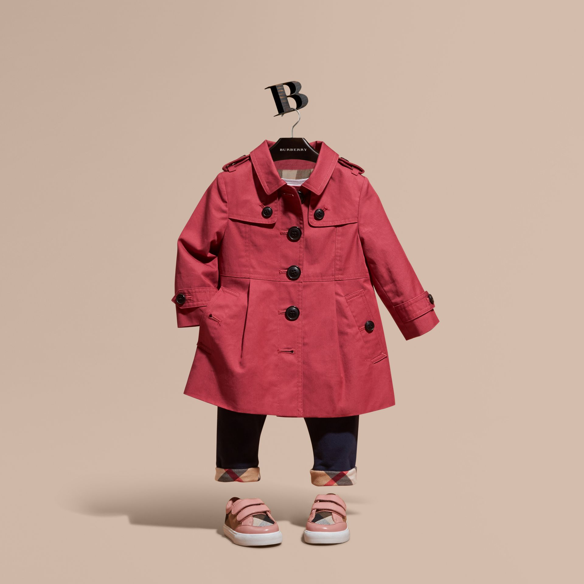 Peony rose Cotton Trench Coat Peony Rose - gallery image 1