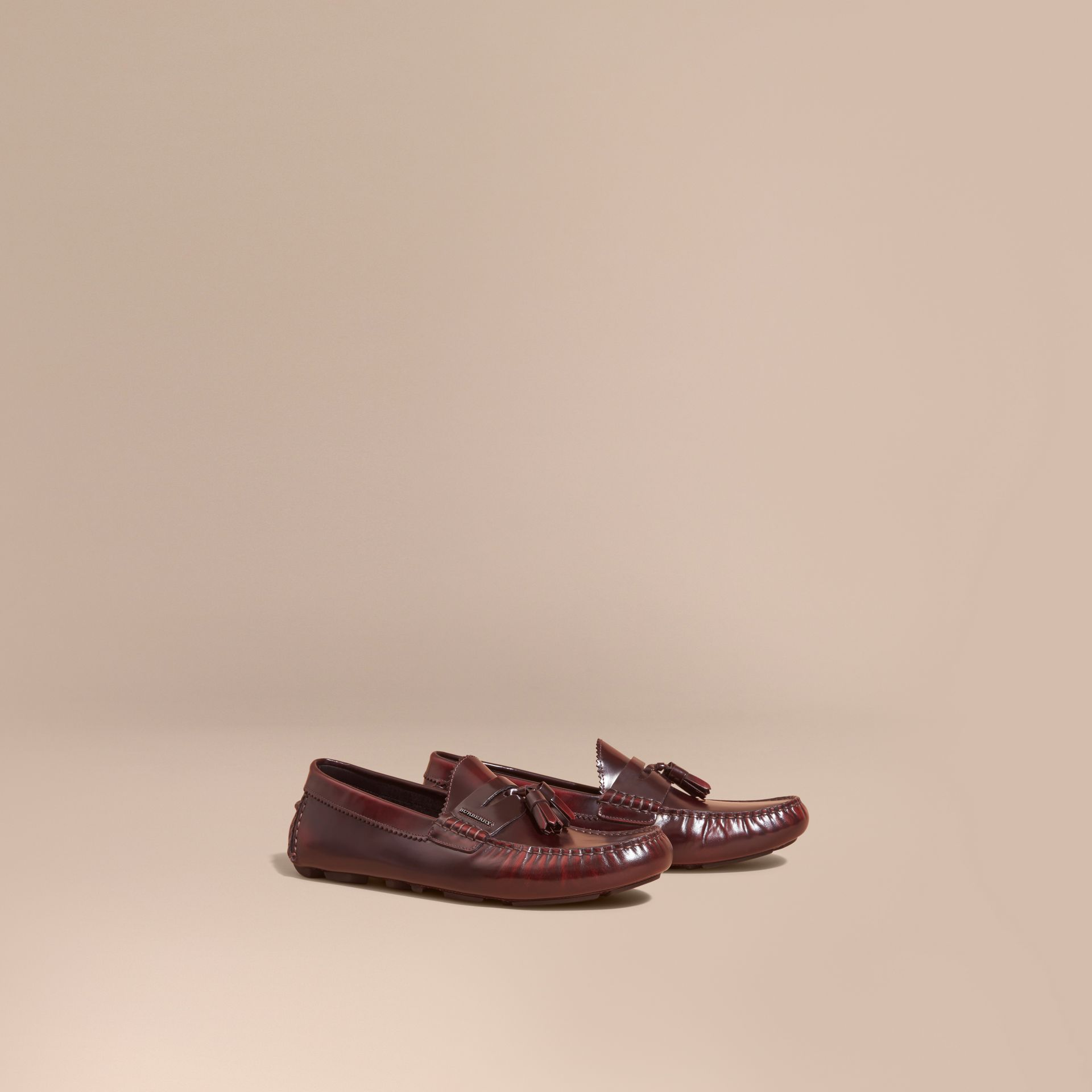 Tasselled Polished Leather Loafers Bordeaux - gallery image 1