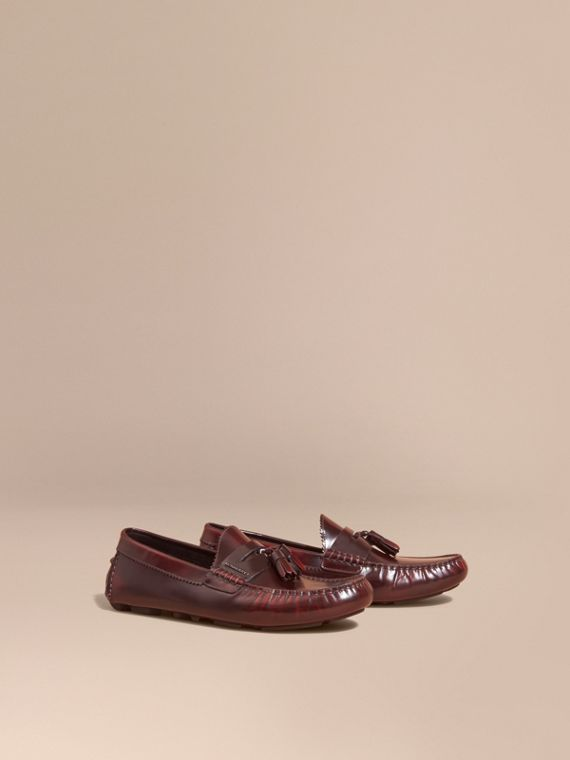 Tasselled Polished Leather Loafers in Bordeaux - Men | Burberry Singapore