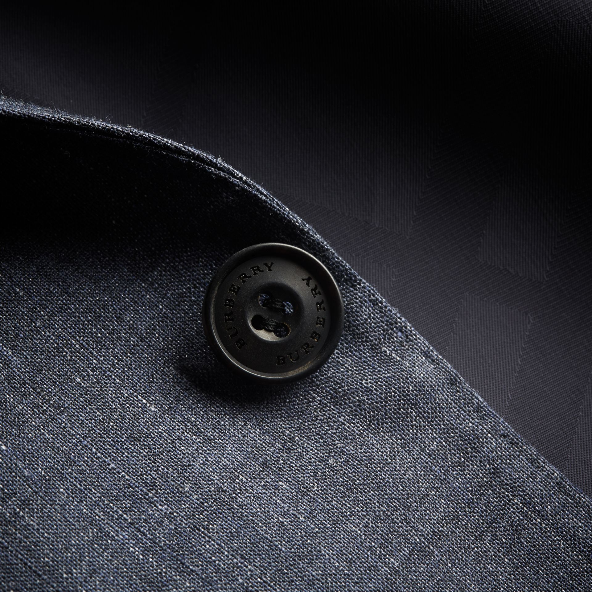 Modern Fit Travel Tailoring Linen Wool Suit in Slate Blue - Men | Burberry - gallery image 2