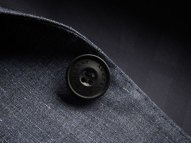 Modern Fit Travel Tailoring Linen Wool Suit in Slate Blue - Men | Burberry - cell image 1