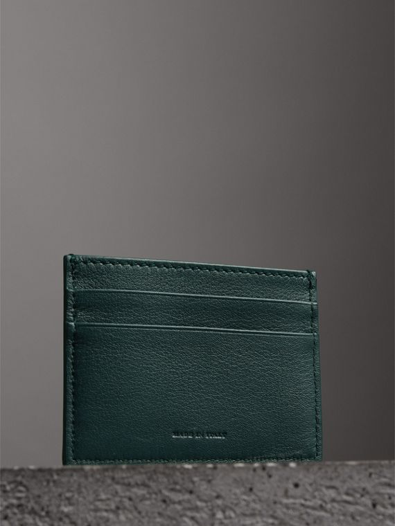 Graffiti Print Leather Card Case in Deep Bottle Green | Burberry - cell image 2