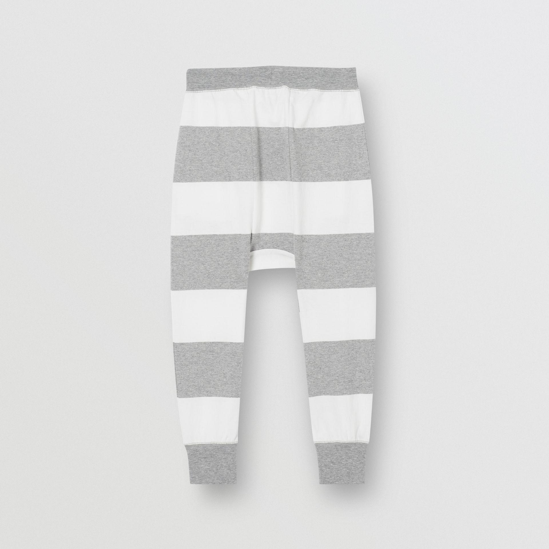 Striped Cotton Trackpants in Grey Melange | Burberry - gallery image 3