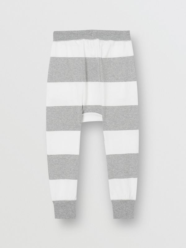 Striped Cotton Trackpants in Grey Melange | Burberry - cell image 3