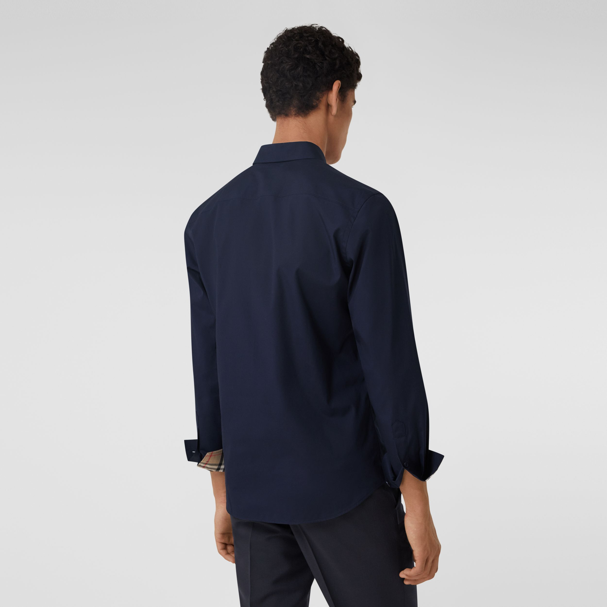 Slim Fit Monogram Motif Stretch Cotton Poplin Shirt in Navy - Men | Burberry Hong Kong S.A.R. - 3