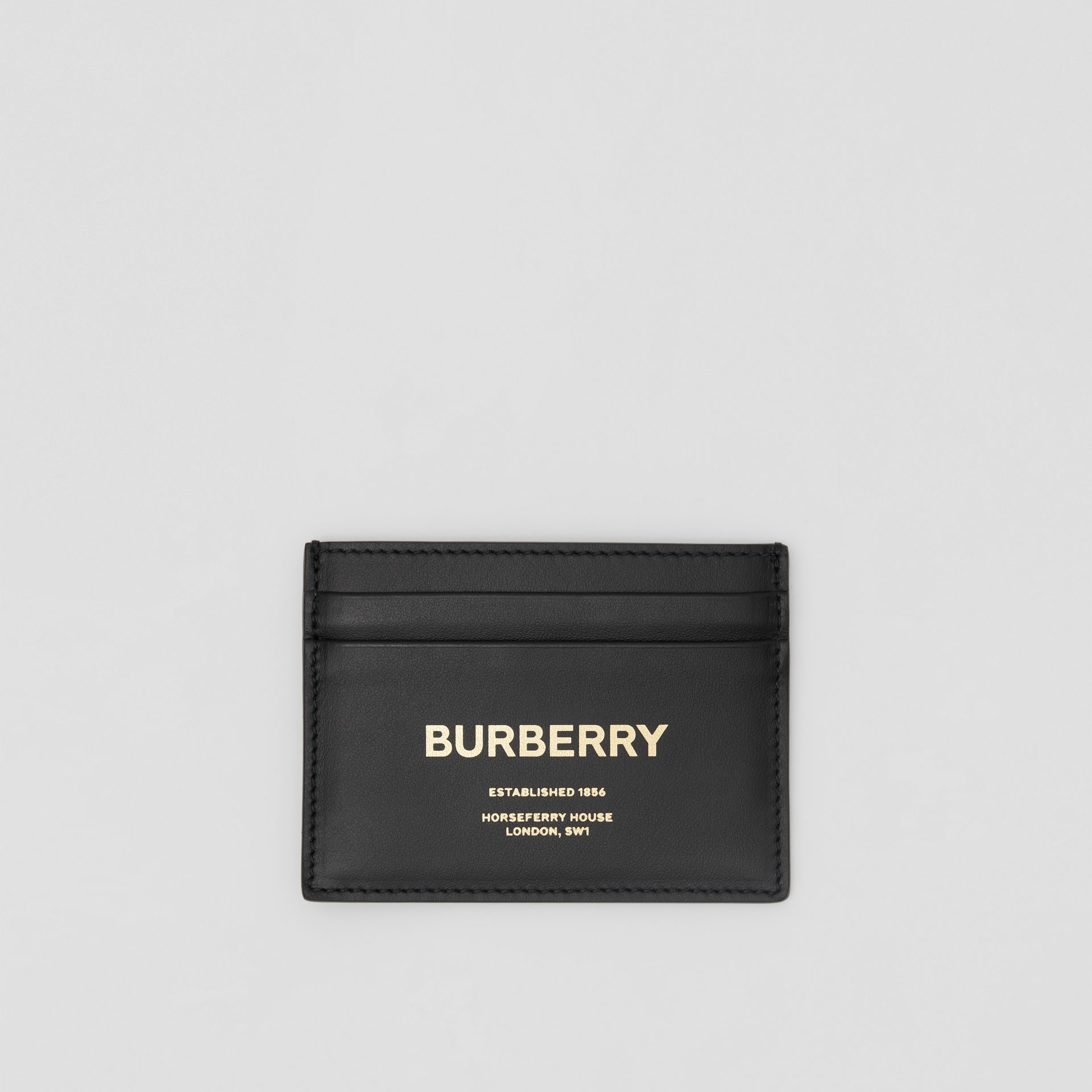 Horseferry Print Leather Card Case in Black - Men | Burberry - gallery image 0