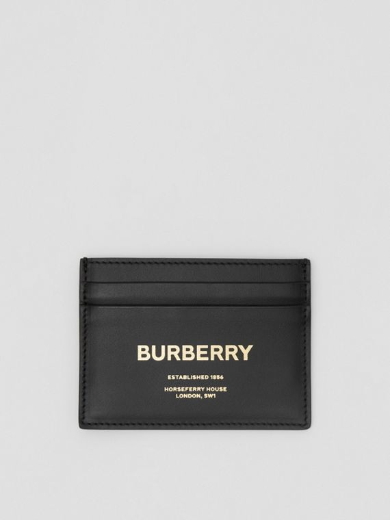 Horseferry Print Leather Card Case in Black
