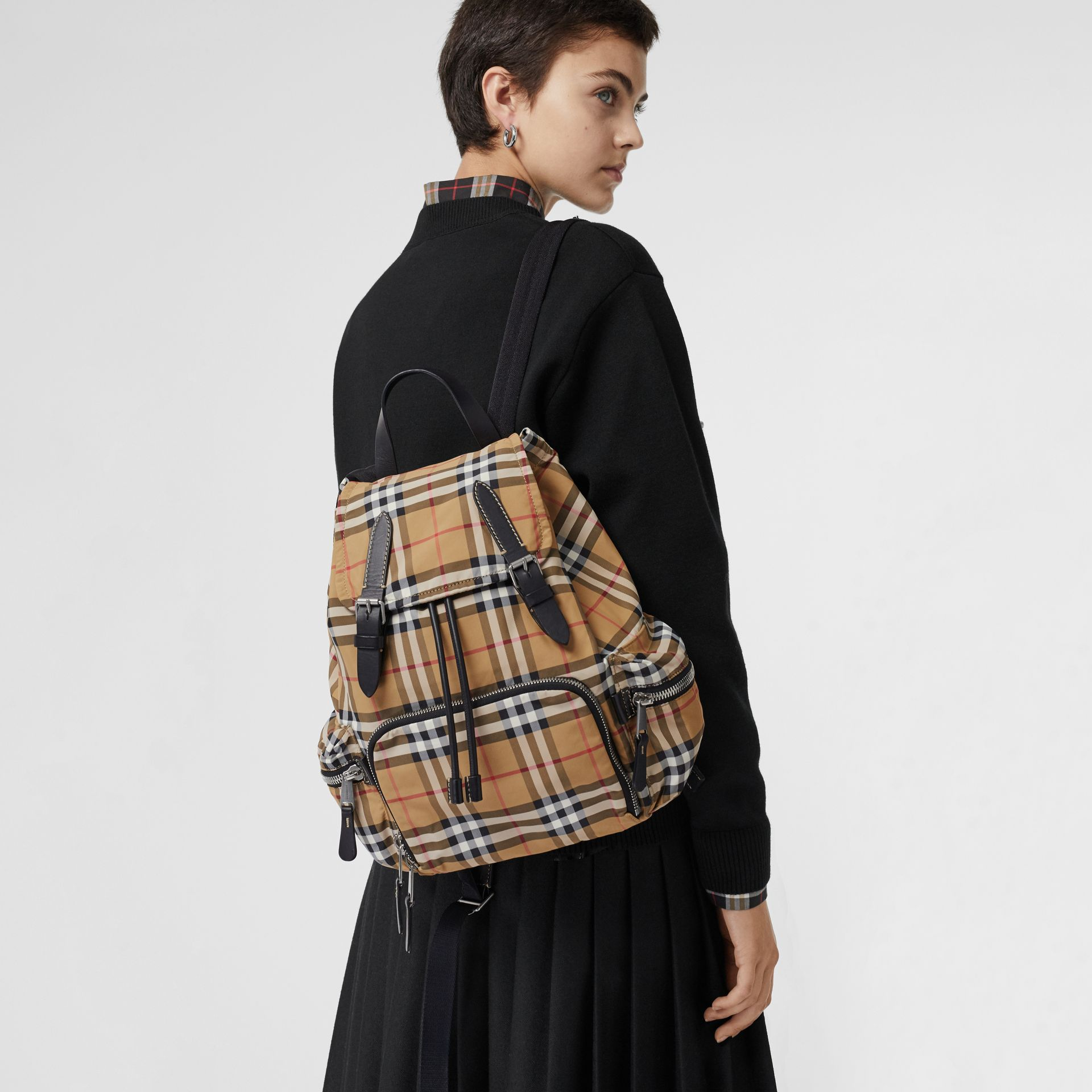 The Medium Rucksack in Vintage Check Nylon in Antique Yellow - Women | Burberry Singapore - gallery image 3