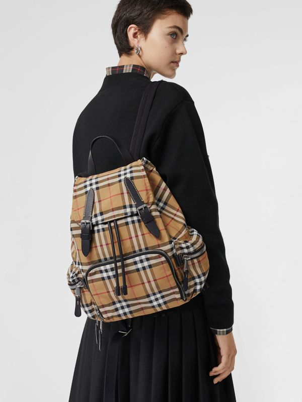 The Medium Rucksack in Vintage Check Nylon in Antique Yellow - Women | Burberry Singapore - cell image 3