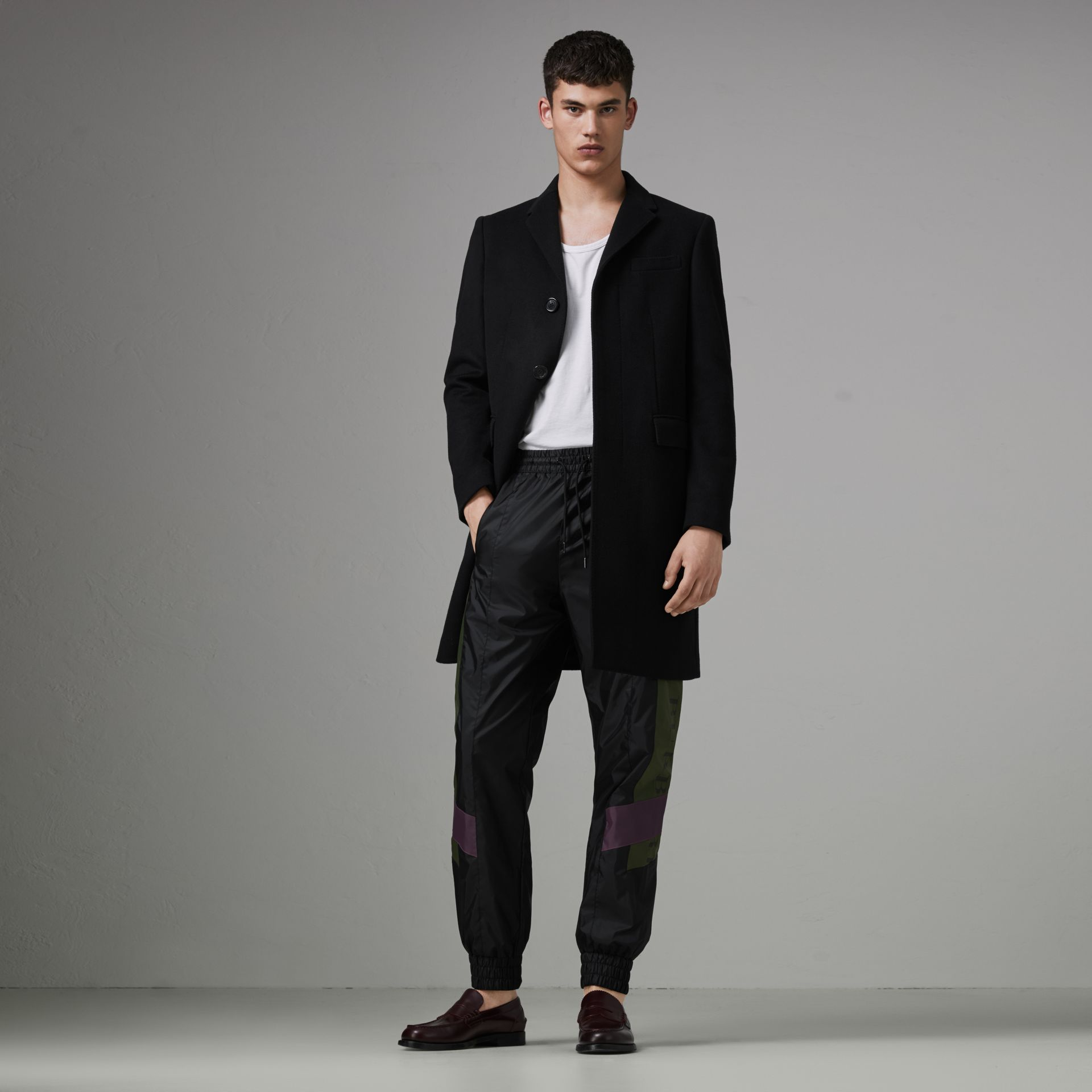 Logo Panel Shell Suit Pants in Black - Men | Burberry Canada - gallery image 0