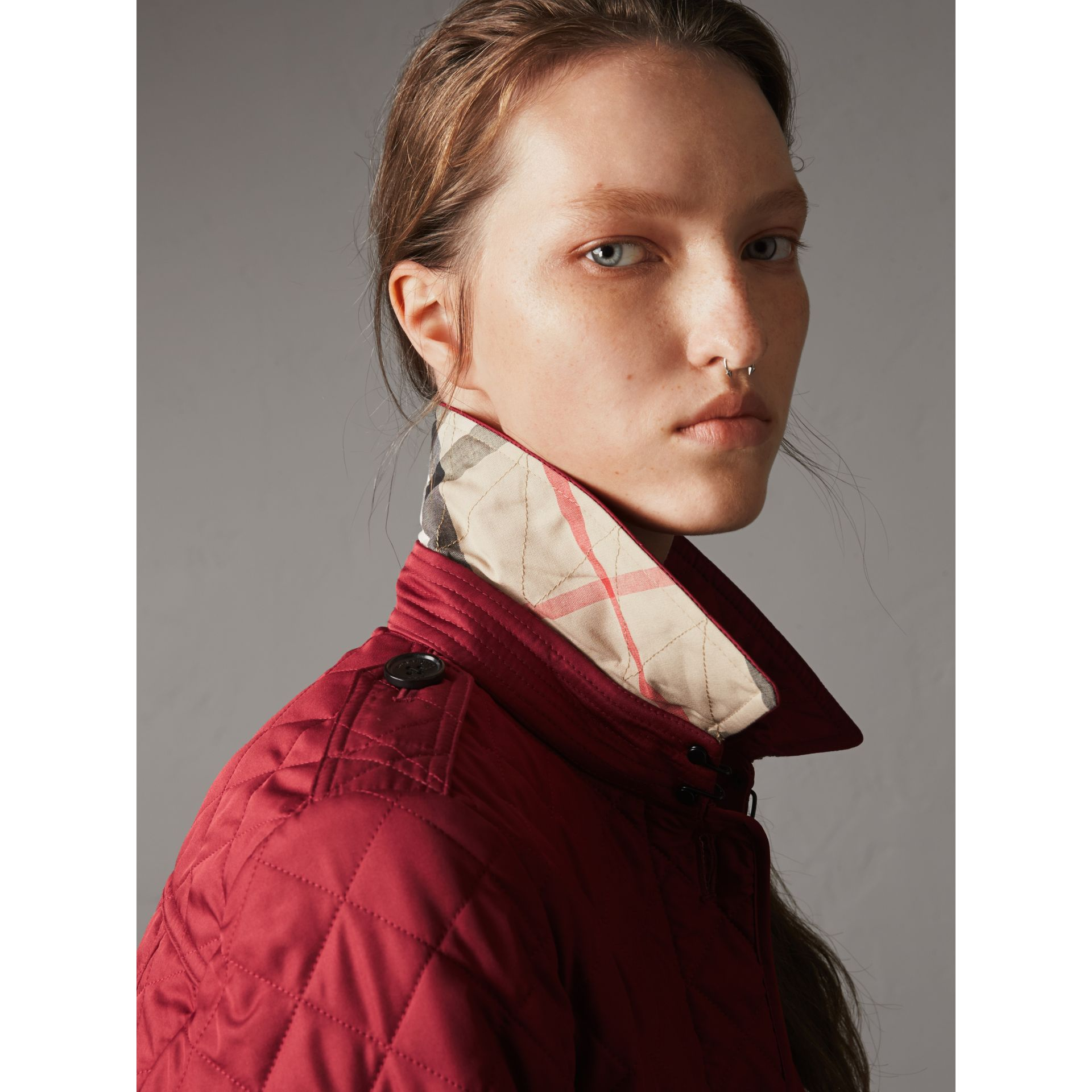 Diamond Quilted Jacket in Parade Red - Women | Burberry United Kingdom - gallery image 1