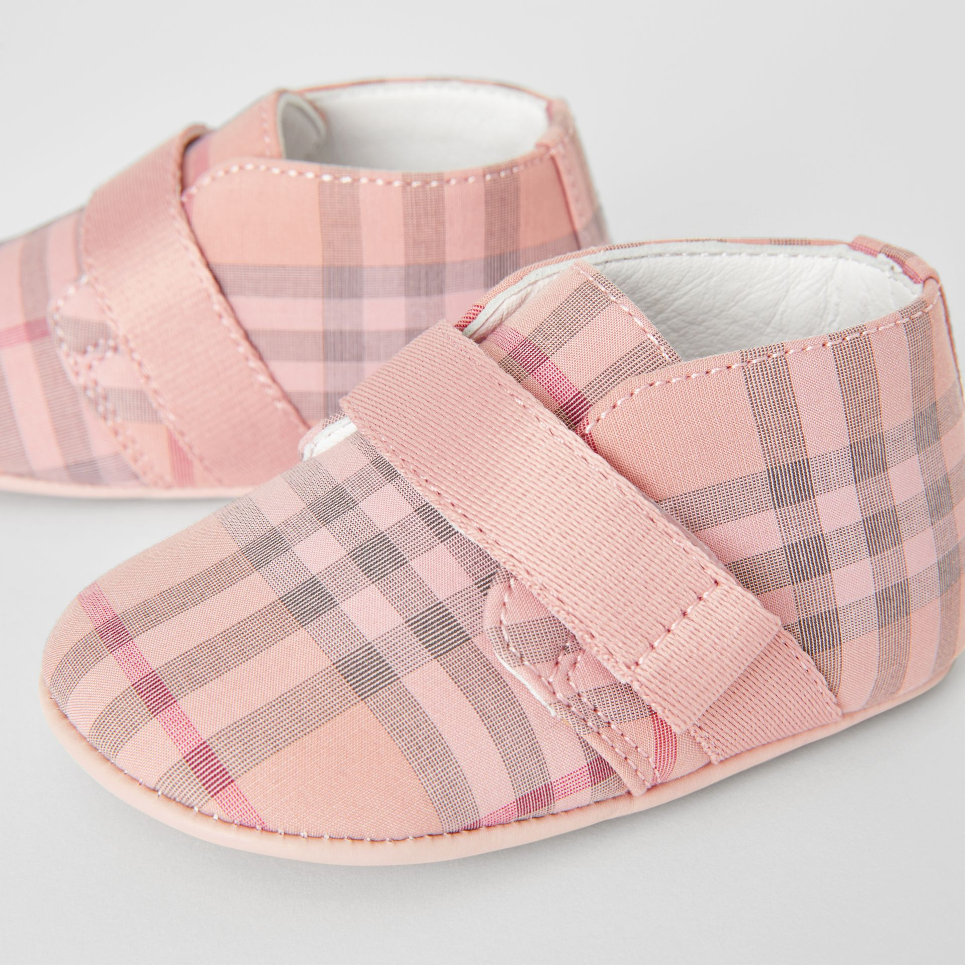Check Cotton and Leather Shoes in Light Rose - Children | Burberry - gallery image 1