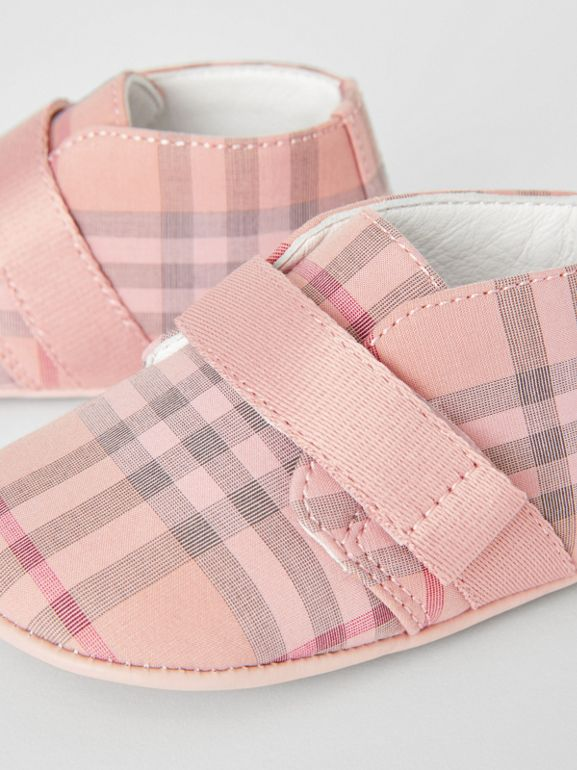 Check Cotton and Leather Shoes in Light Rose - Children | Burberry - cell image 1