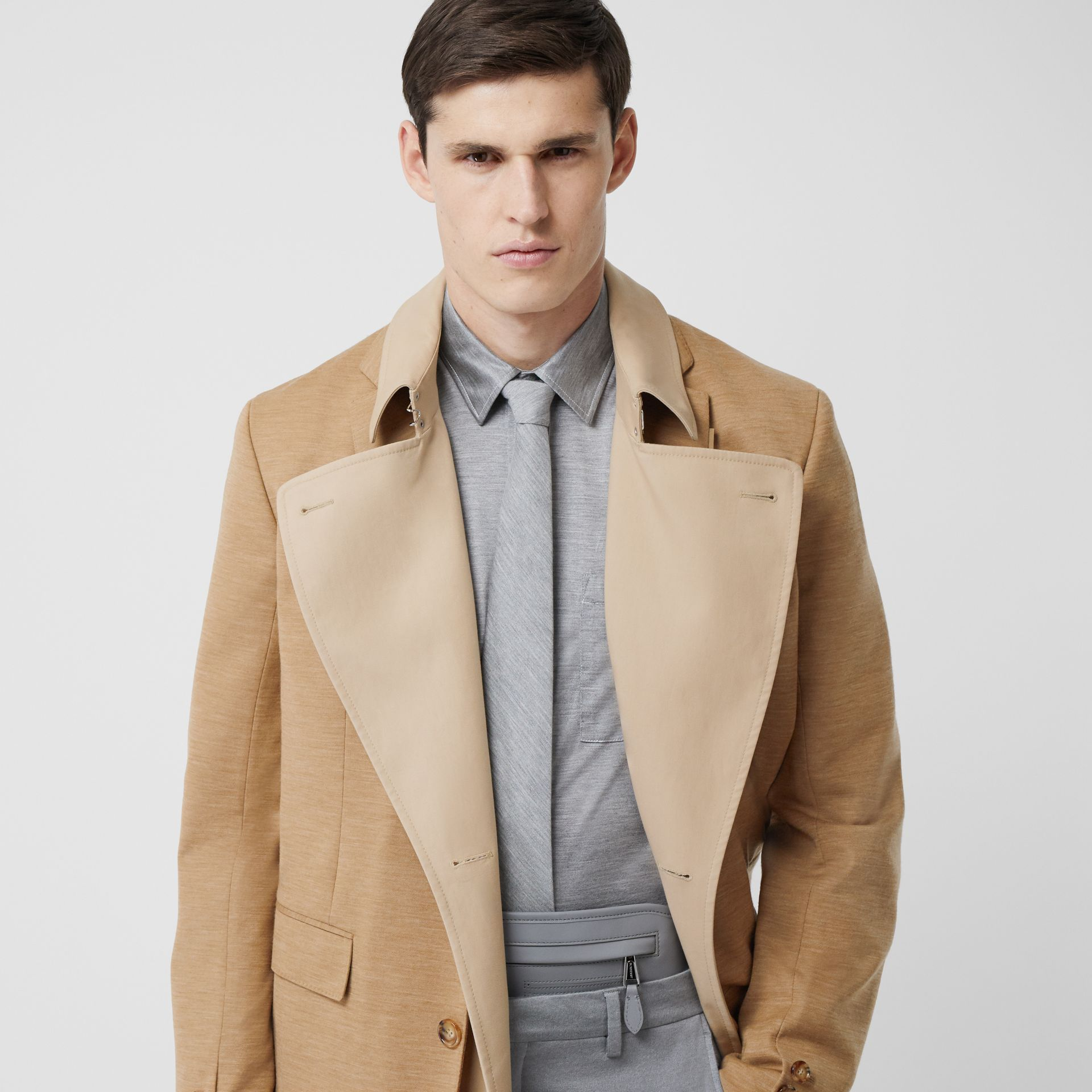 Blazer Detail Cotton Twill Reconstructed Trench Coat in Soft Fawn - Men | Burberry - gallery image 1