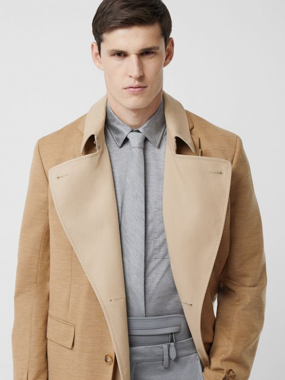 Blazer Detail Cotton Twill Reconstructed Trench Coat in Soft Fawn - Men | Burberry - cell image 1