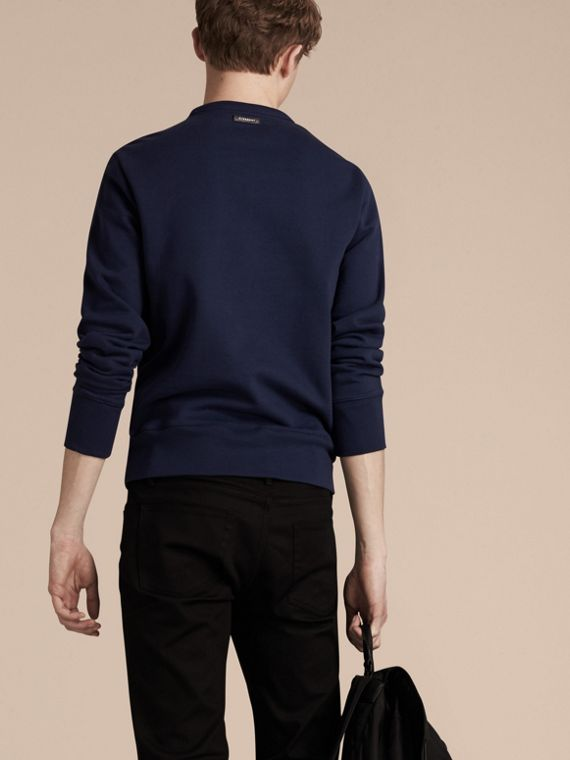 Indigo Sweat-shirt en coton color-block et cuir d'agneau - cell image 2