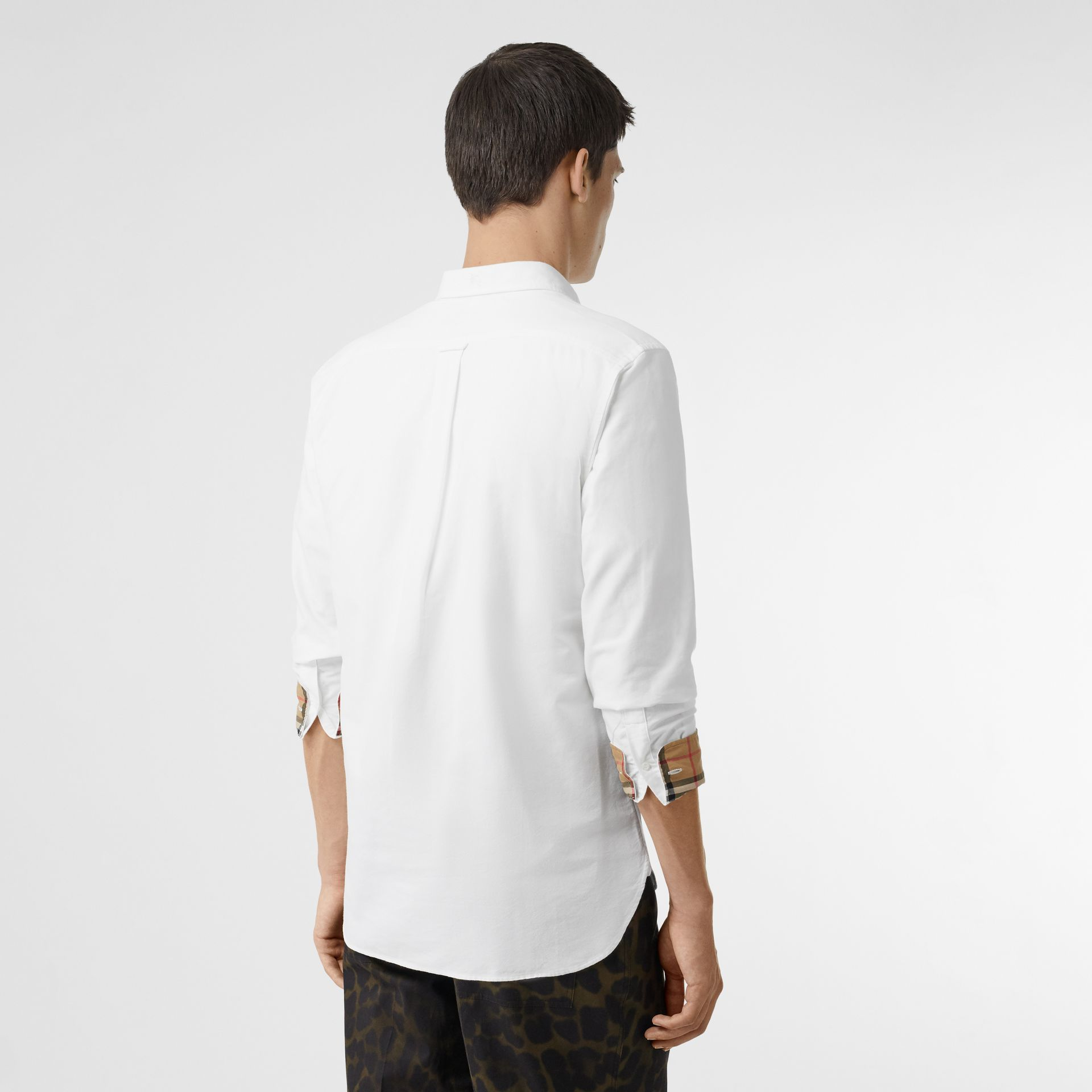 Check Cuff Cotton Oxford Shirt in White - Men | Burberry Singapore - gallery image 2