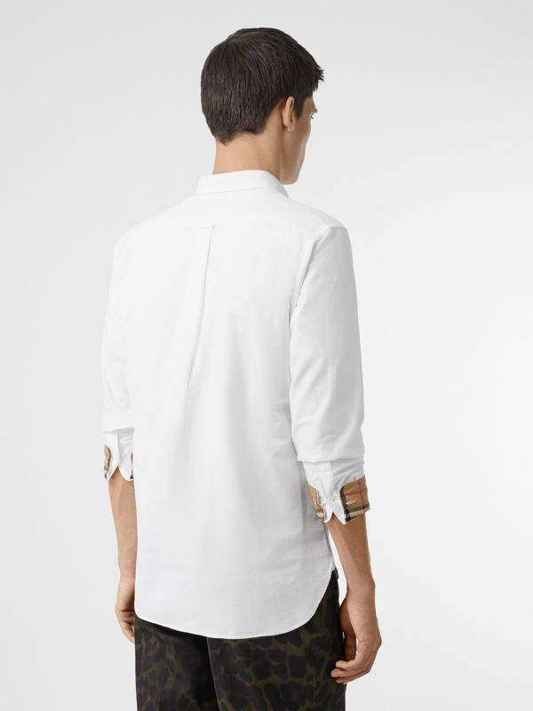 Check Cuff Cotton Oxford Shirt in White - Men | Burberry Singapore - cell image 2