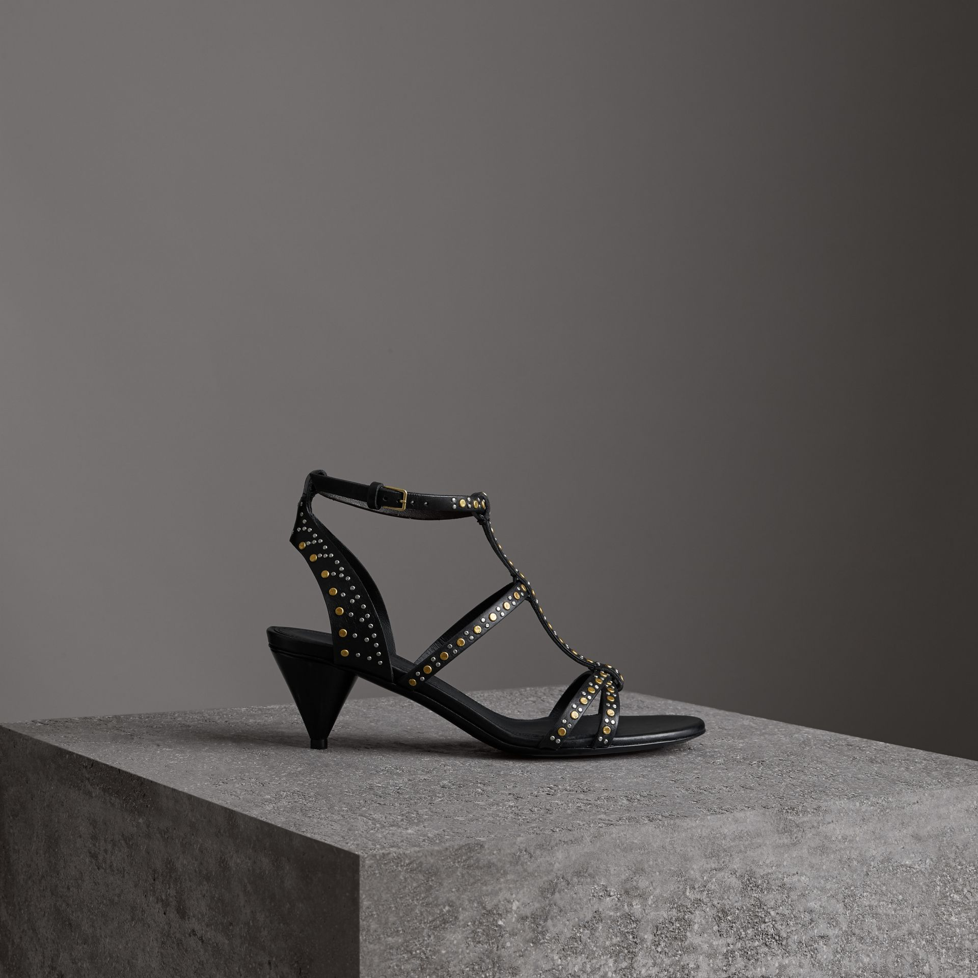 Riveted Leather Cone-heel Sandals in Black - Women | Burberry - gallery image 0