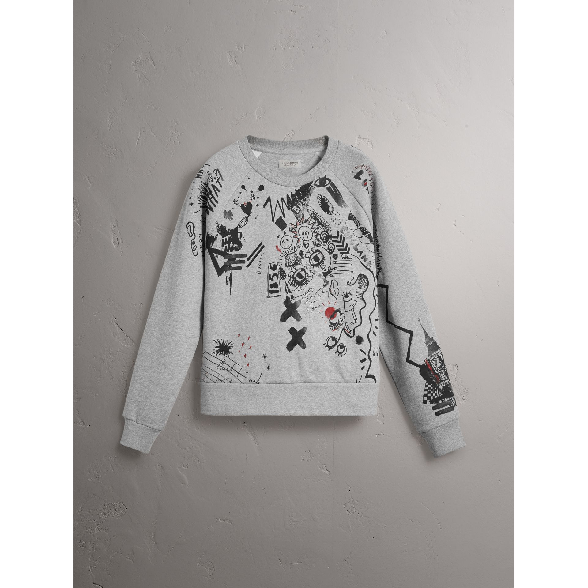 Sketch Print Jersey Sweatshirt in Pale Grey Melange - Women | Burberry United States - gallery image 3