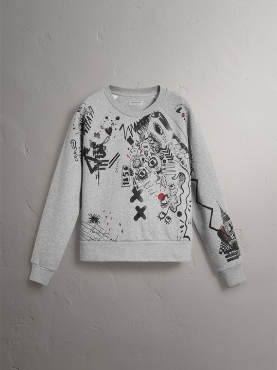 Sketch Print Jersey Sweatshirt in Pale Grey Melange - Women | Burberry Singapore - cell image 3