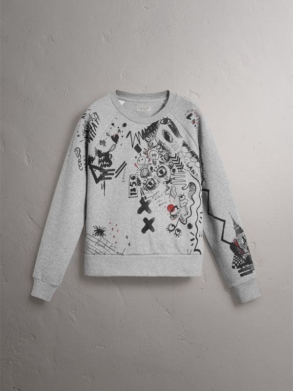 Sketch Print Jersey Sweatshirt in Pale Grey Melange - Women | Burberry - cell image 3