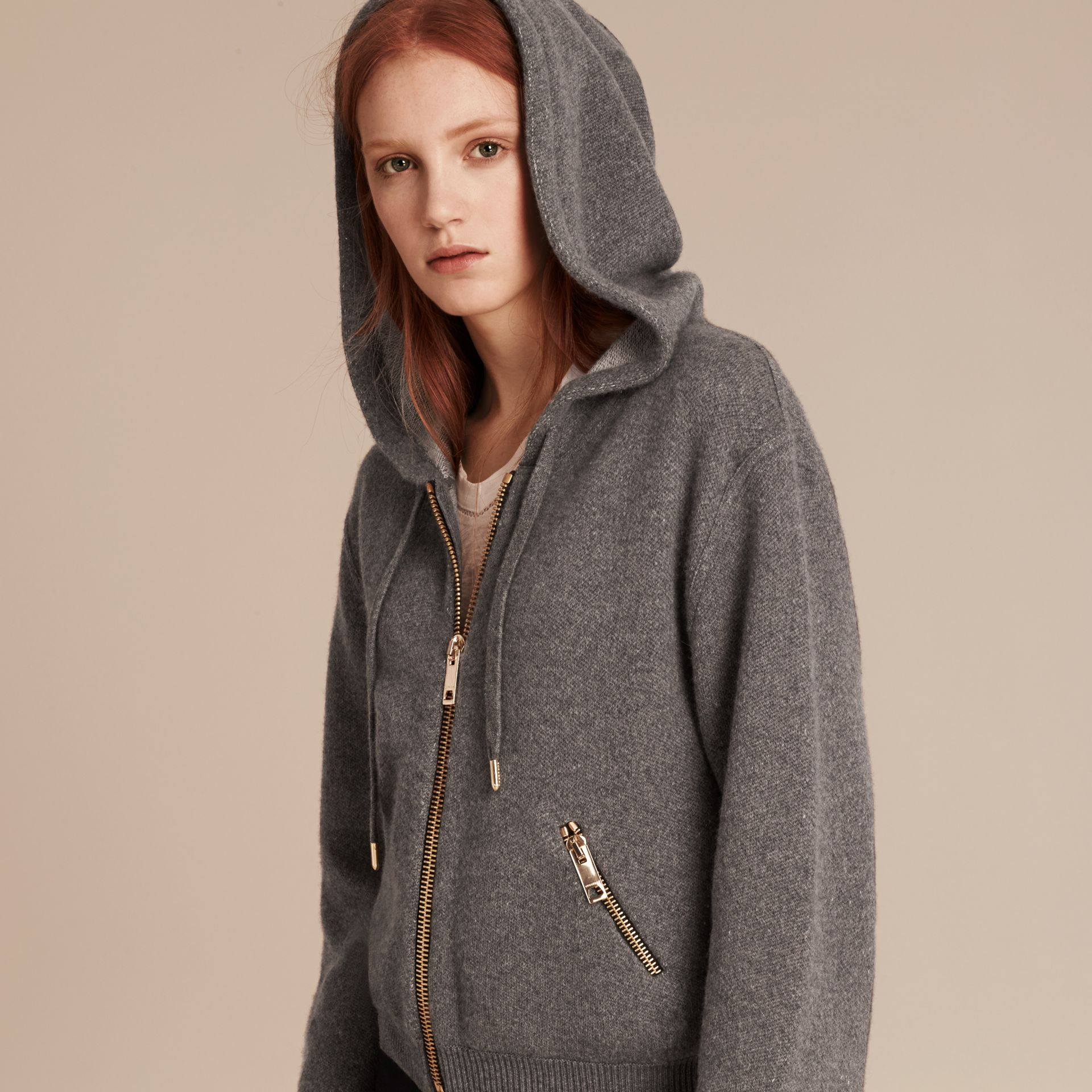 Dark grey melange Hooded Cashmere Cotton Jacket - gallery image 5