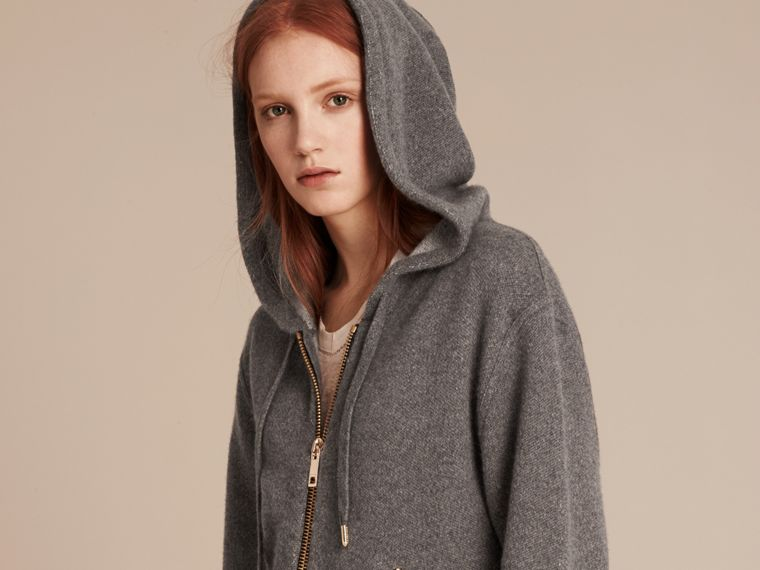Dark grey melange Hooded Cashmere Cotton Jacket - cell image 4