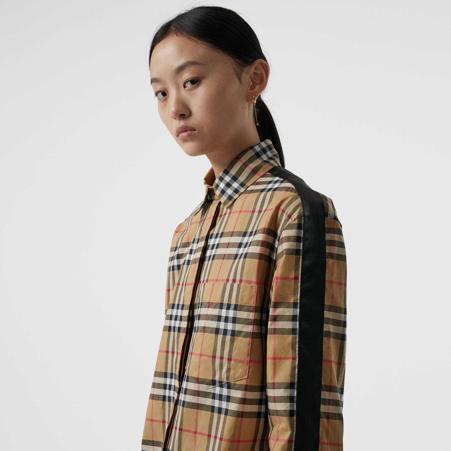 Satin Stripe Vintage Check Shirt in Antique Yellow - Women | Burberry Hong Kong - gallery image 1