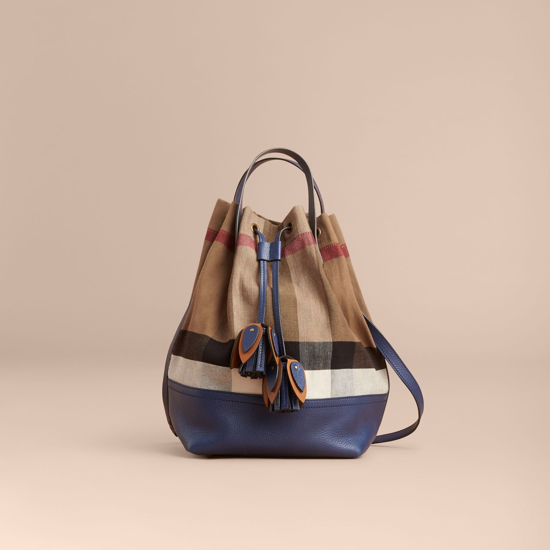 Medium Canvas Check and Leather Bucket Bag in Brilliant Navy - Women | Burberry - gallery image 8