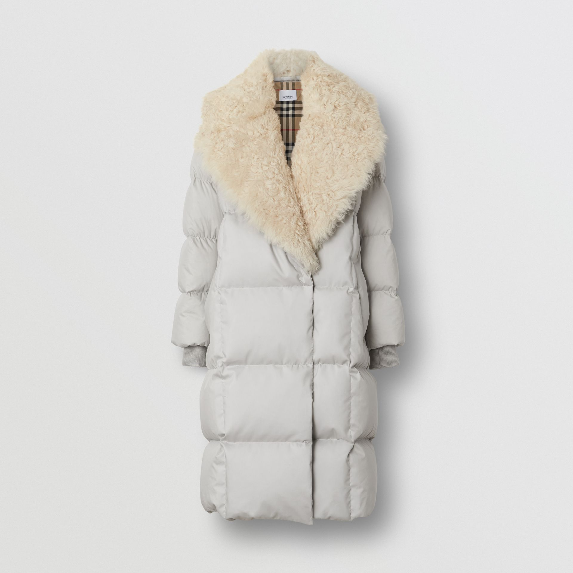 Detachable Shearling Collar Down-filled Puffer Coat in Pale Grey - Women | Burberry United Kingdom - gallery image 3