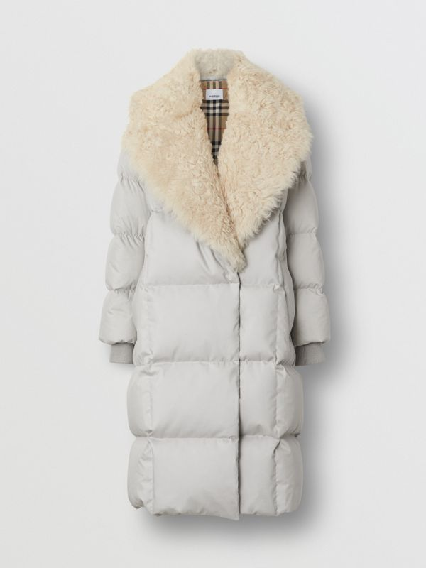 Detachable Shearling Collar Down-filled Puffer Coat in Pale Grey - Women | Burberry - cell image 3