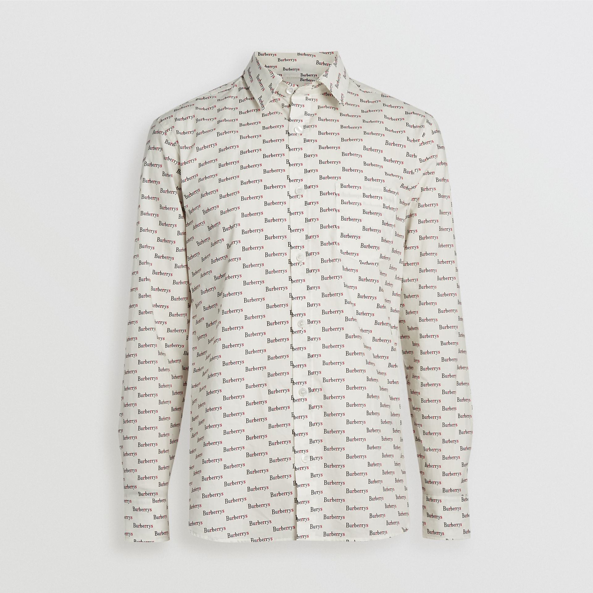 Logo Print Cotton Shirt in White - Men | Burberry United States - gallery image 3